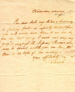 Sarah Worthington King letter, August, 1822